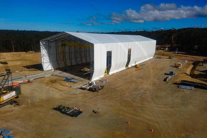 image of completed pre-cast fabric building